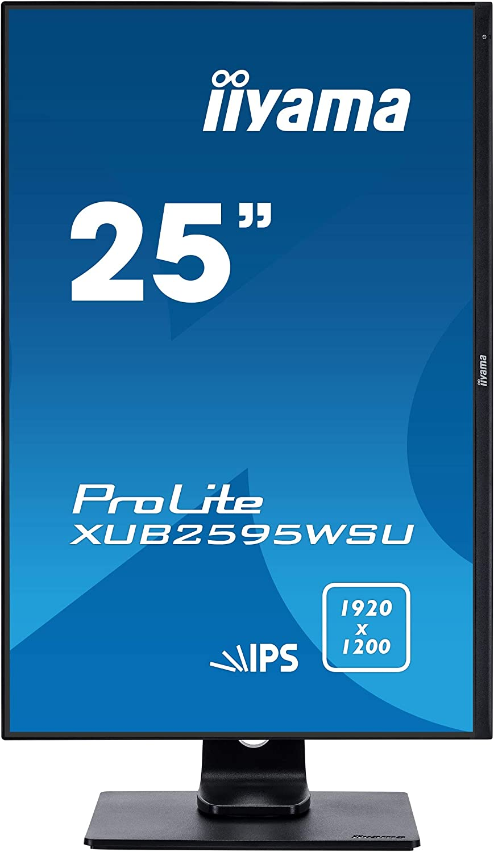 "iiyama Prolite XUB2595WSU-B1 63, 36cm (25"") IPS LED-Monitor 16: 10 (VGA, HDMI, DisplayPort, USB2.0, Ultra-Slim-Line, Regolabile in altezza, Pivot) Nero"