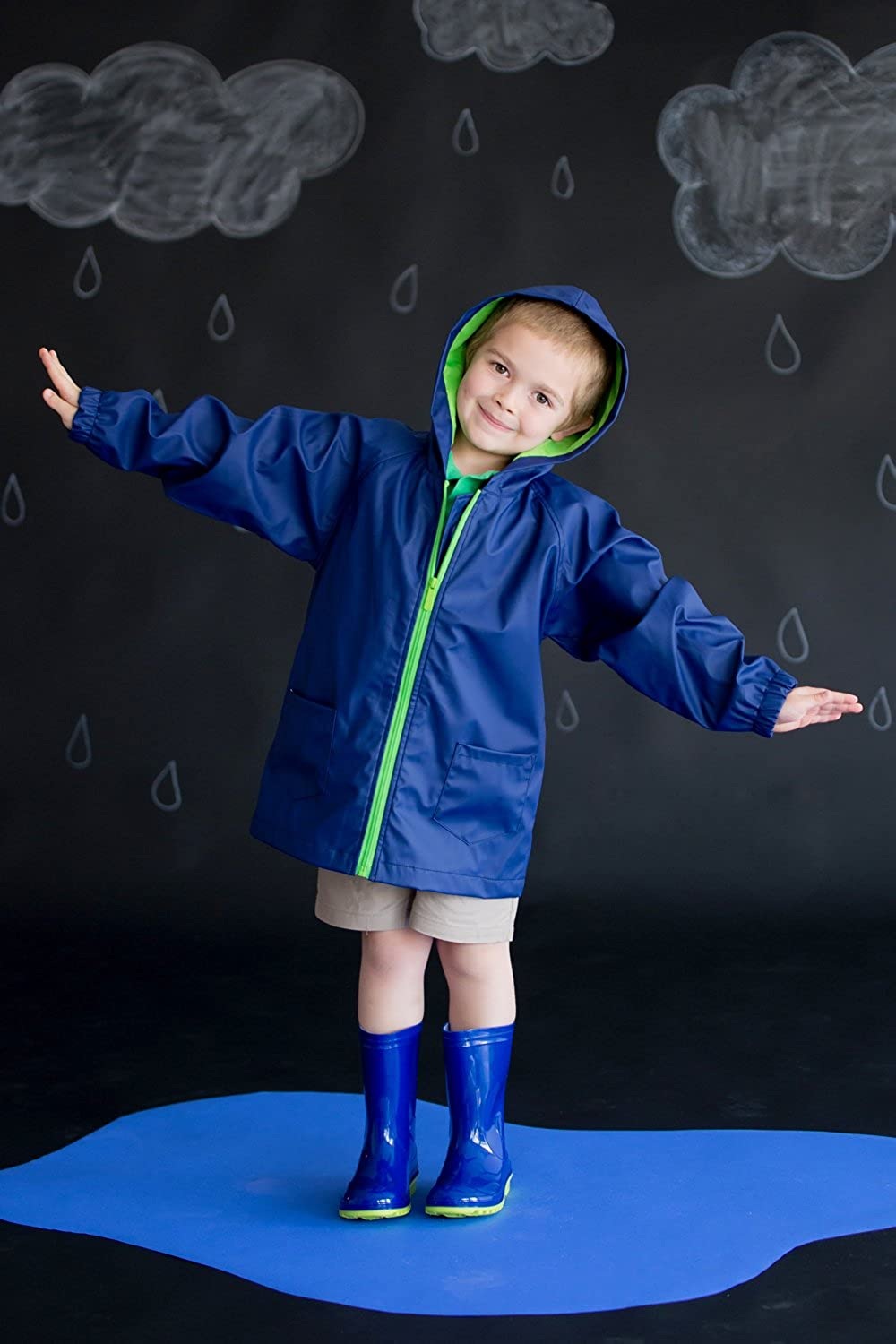 Viv /& Lou Solid Color Kids Rain Jacket Can be Personalized Monogrammed