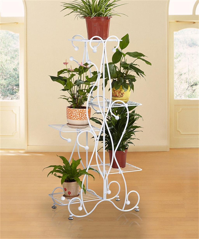 XUEWENZHE Blumenständer Europäische Stil Iron Treppe-Stil Blumentopf ...