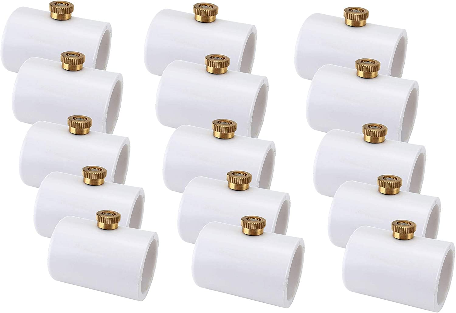 ACBungji 1/2 inch PVC Mister Coupling with Brass Mister Nozzle,PVC Split Section with Stainless Steel Heads (15)