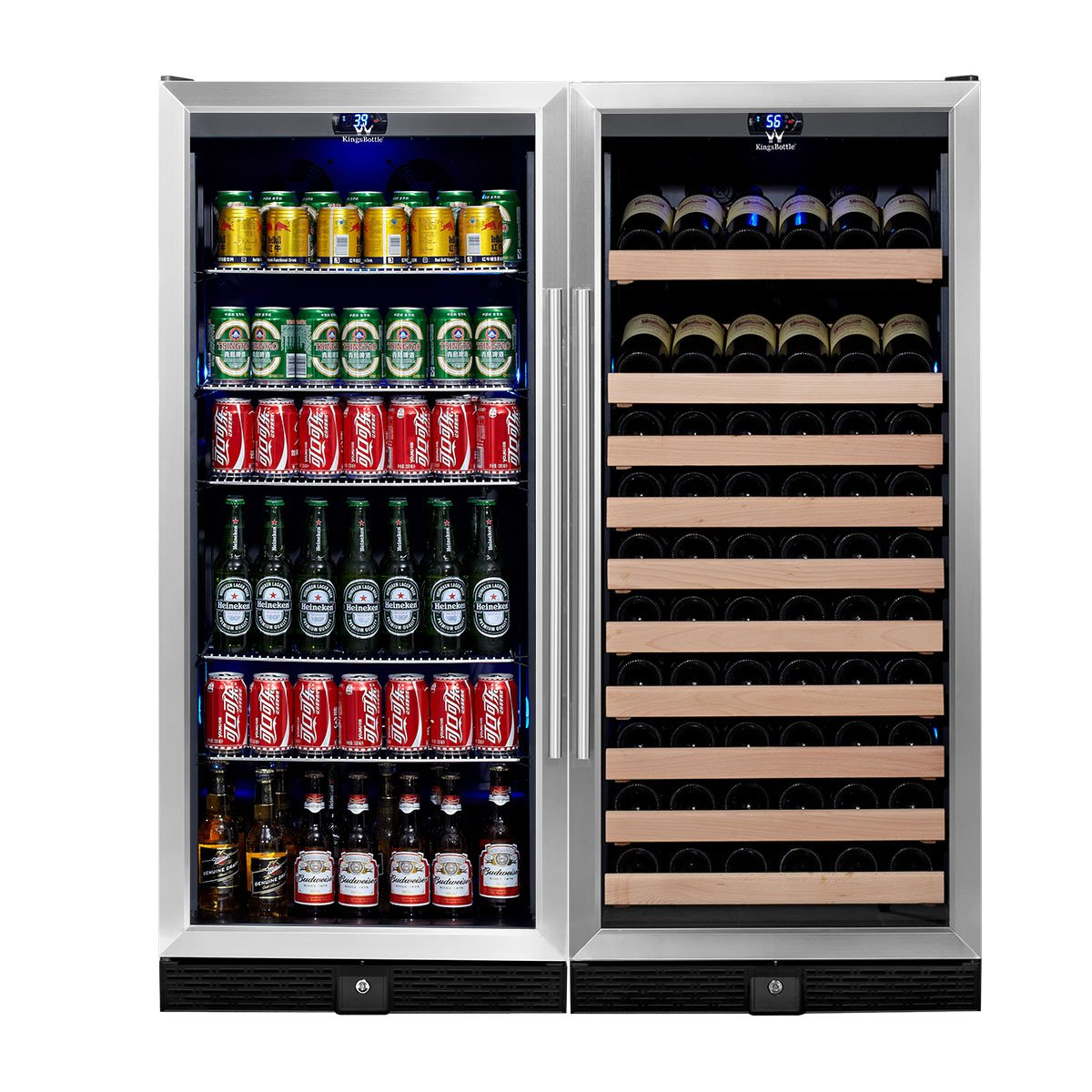 KingsBottle 2-Zone Wine and Beverage Combo Refrigerator, Holds 300 Cans and 98 Bottles, Stainless Steel with Glass Door