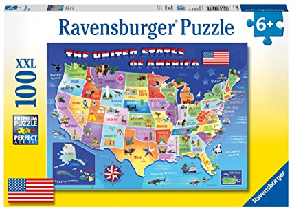 Amazon.com: Ravensburger USA State Map 100 Piece Jigsaw Puzzle for ...