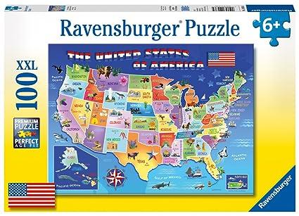Amazon.com: Ravensburger USA State Map 100 Piece Jigsaw Puzzle: Toys ...