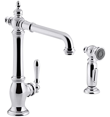 17a3322efaba KOHLER K-99265-CP Artifacts Single-Hole Kitchen Sink Faucet with 13 ...