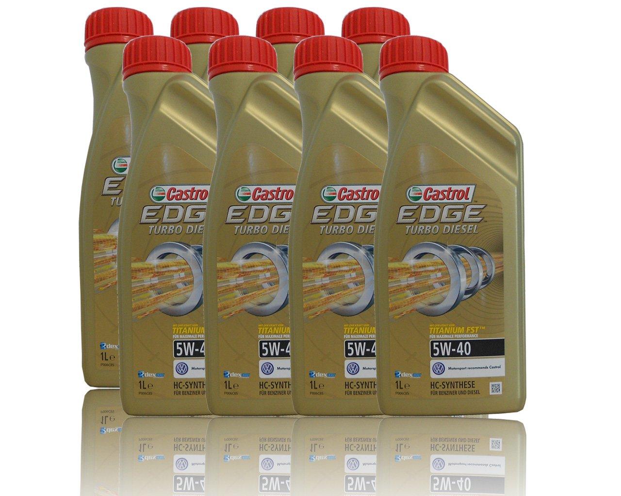 8 x 1 l=8 litros Castrol Edge Titanium fsttm Turbo Diesel 5 W de 40 del motor de aceite motores de aceite Incluye Castrol ölwechsel de colgante; ...