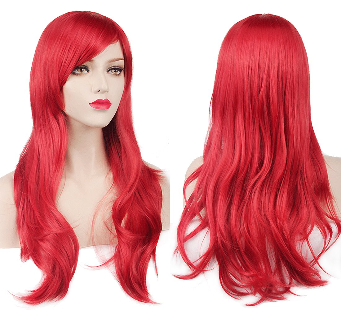 BERON Long Wavy Heat Resistant Synthetic Wig with Bangs for Costume Party Halloween Come with Wig Cap (Hot Pink) TKEKON WIG