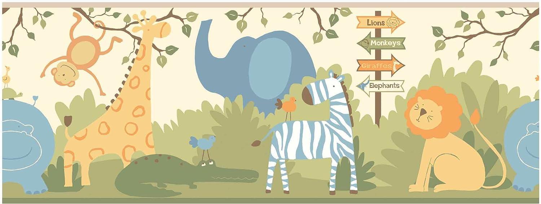 Sweet Jojo Design Modern Elephant Jungle Baby Kid Wall Paper Border Wallcovering