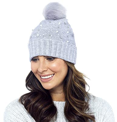 97dc974a2ae Foxbury Ladies Beaded Beanie Hat with Faux Fur Bobble Grey  Amazon.co.uk   Clothing