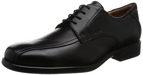 U Federico Y, Zapatos Oxford de Cuero con Cordones para Hombre, Negro (Black C9999), 45 UE Geox
