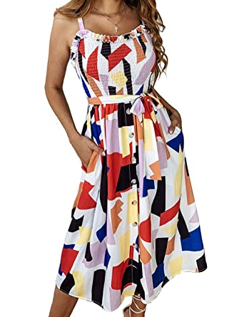 e31712d359 Yxiuexur Womens Summer Dresses Girls Casual Floral Beach Spaghetti Strap Boho  Dress Button Down Swing Midi