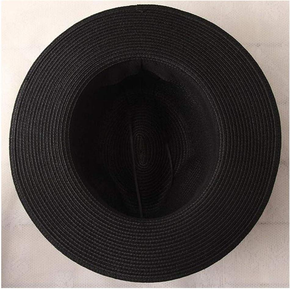 Color : Black, Size : 56-58CM Fashion Straw Baseball Hat Casual Straw Panama Cowboy Hat Western Beach Jazz Hat Comfortable