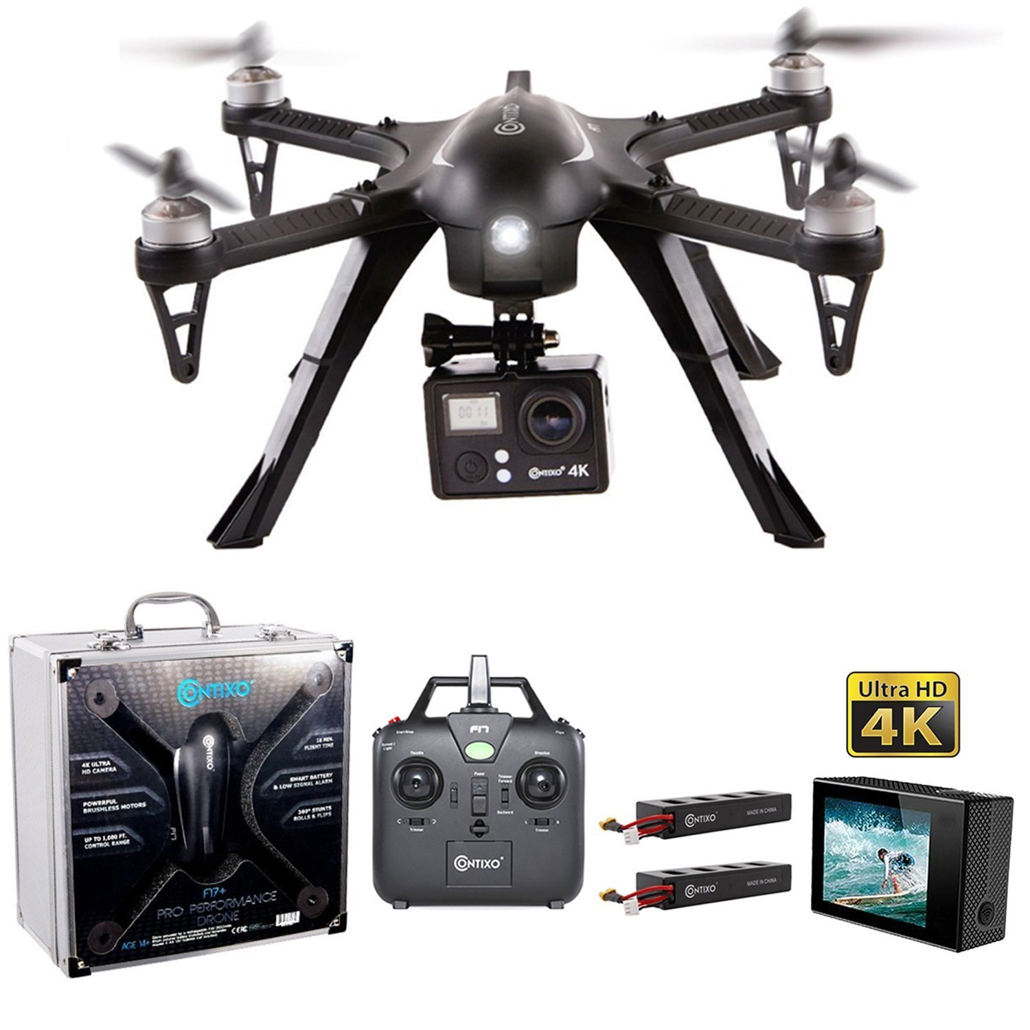 HOLIDAY SPECIAL! Contixo F17+ RC Quadcopter Photography Drone 4K Ultra HD Camera 16MP, Brushless Motors, 2 High Capacity Batteries, Supports GoPro Hero Cameras, Alum Hard Case- Best Gift For Christmas by Contixo