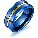Rockyu 幅広 指輪 チタン リング メンズ シンプル アクセサリー ブラック ゴールド ブルー リング