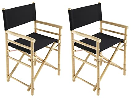 Zew Hand Crafted Foldable Bamboo Directoru0027s Chair With Treated Comfortable  Canvas, Black, Folding Chairs