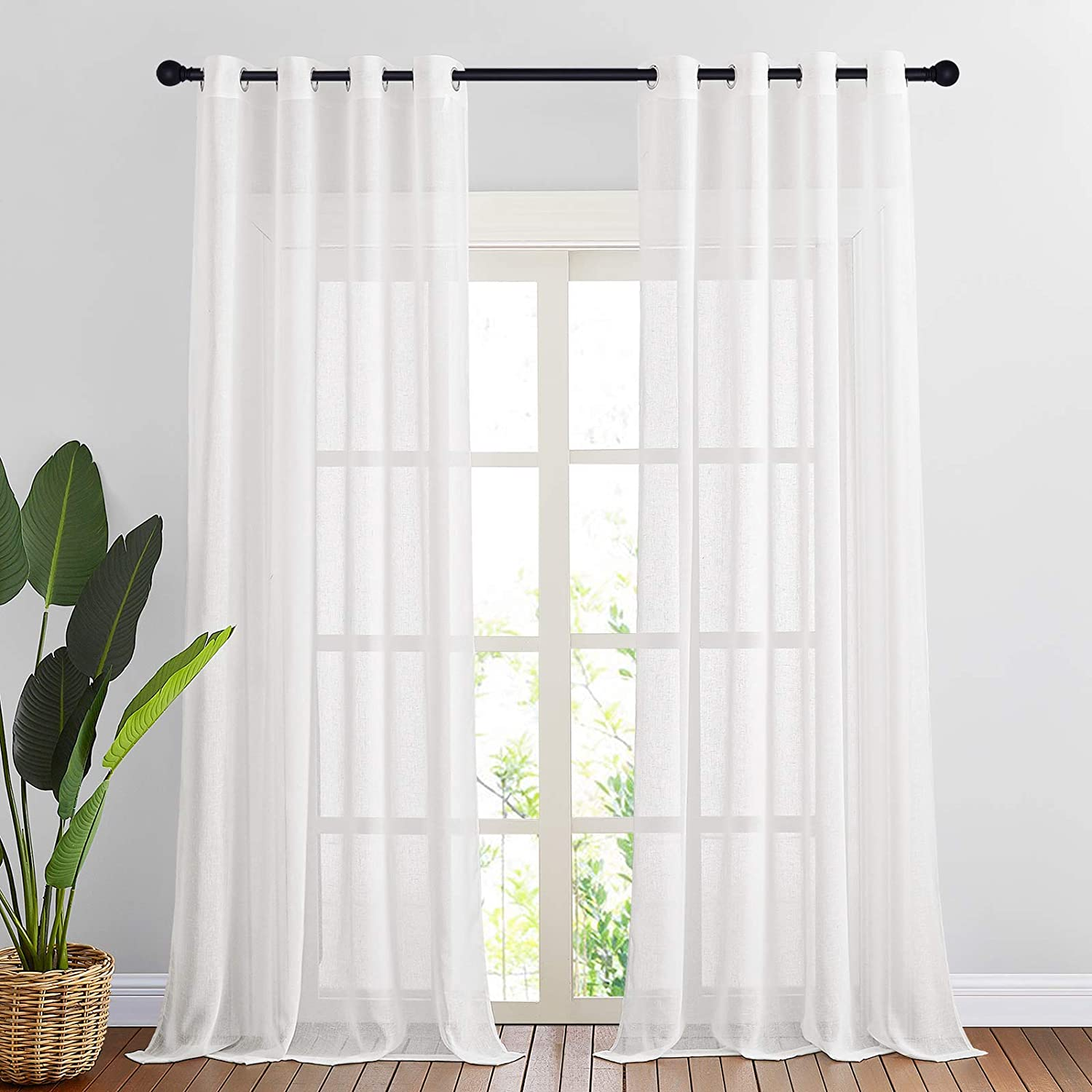 NICETOWN Sheer Linen Curtains for Living Room, Ring Top Textured Semi Sheer Panels Privacy Semitransparent Flax Open Linen Weave Sheer Drapes for Study Room, W52 x L96, White, 1 Pair