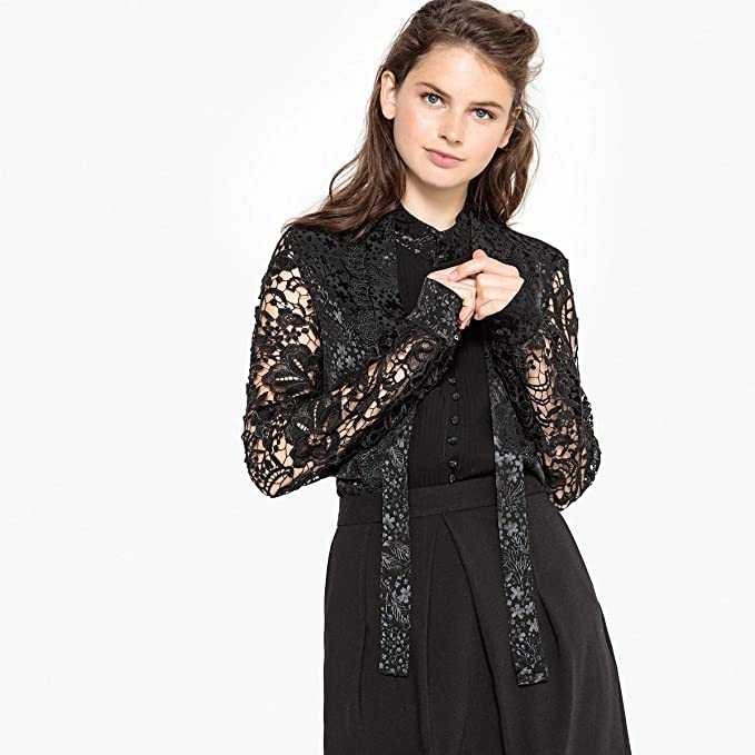 9308e9ae Image Unavailable. Image not available for. Color: La Redoute Collections  Womens Jacquard and Lace Shirt with Pussy Bow Black ...