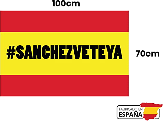 GMF | Bandera de España con Hashtag #SánchezVeteYa | Medidas 100x70 |Hecha 100% en España | con Hashtag Sanchez Vete Ya | con Medidas para Balcón: Amazon.es: Jardín