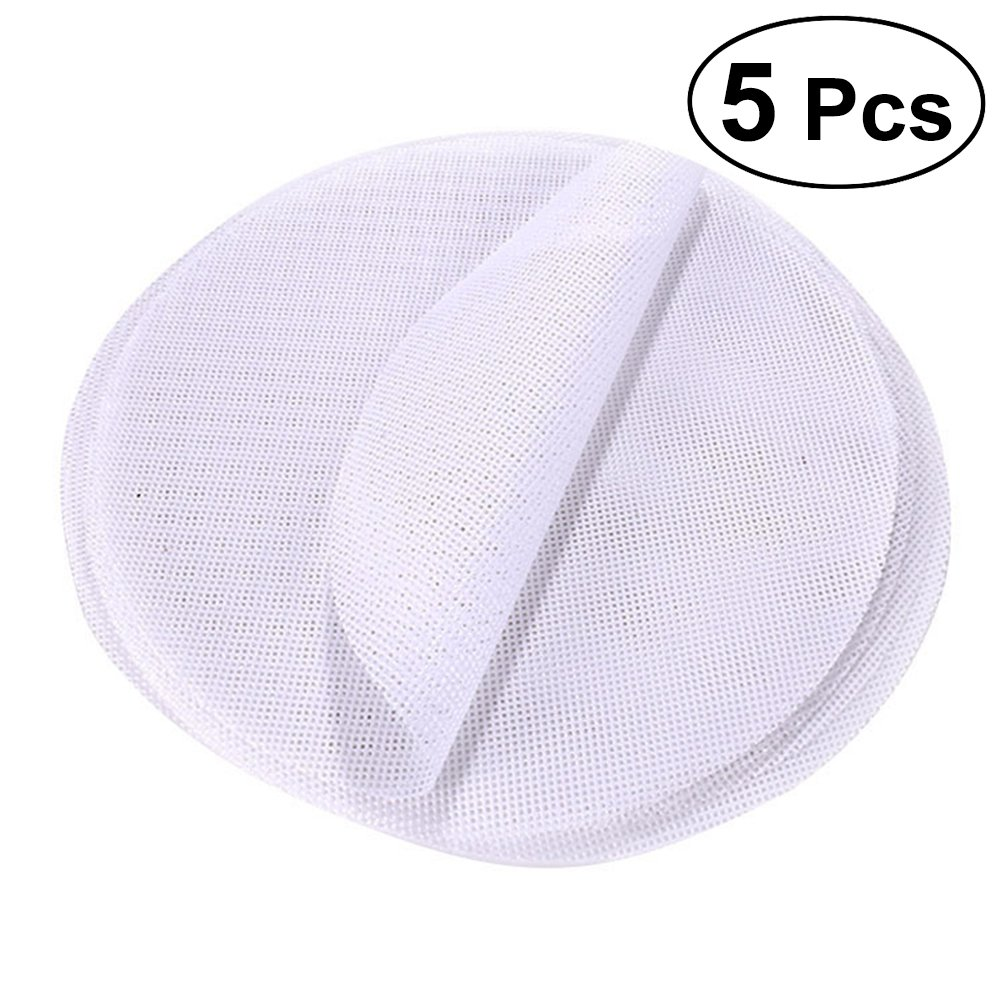 BESTONZON 5 Pcs Reusable Kitchen Silicone Steamer Mesh Non-Stick Pad Round Shape Dumplings Mat Steamed Buns Baking Pastry Dim Sum Mesh-Diameter 30CM