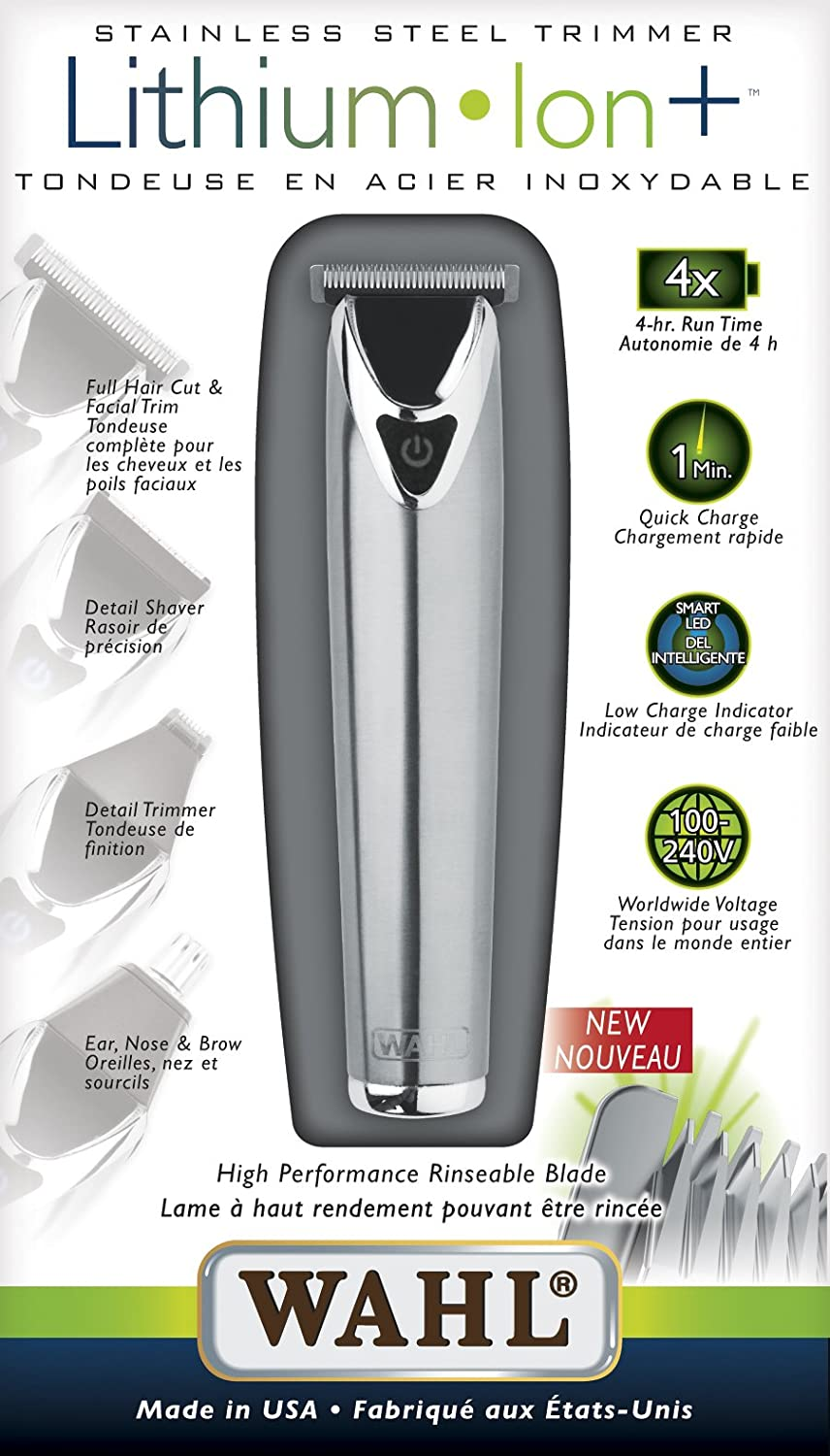 Wahl Lithium Ion Stainless Steel Trimmer (Silver) 3205
