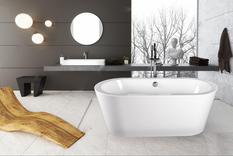 Empava Luxury Stand Alone Acrylic Soaking SPA Tub Modern ...