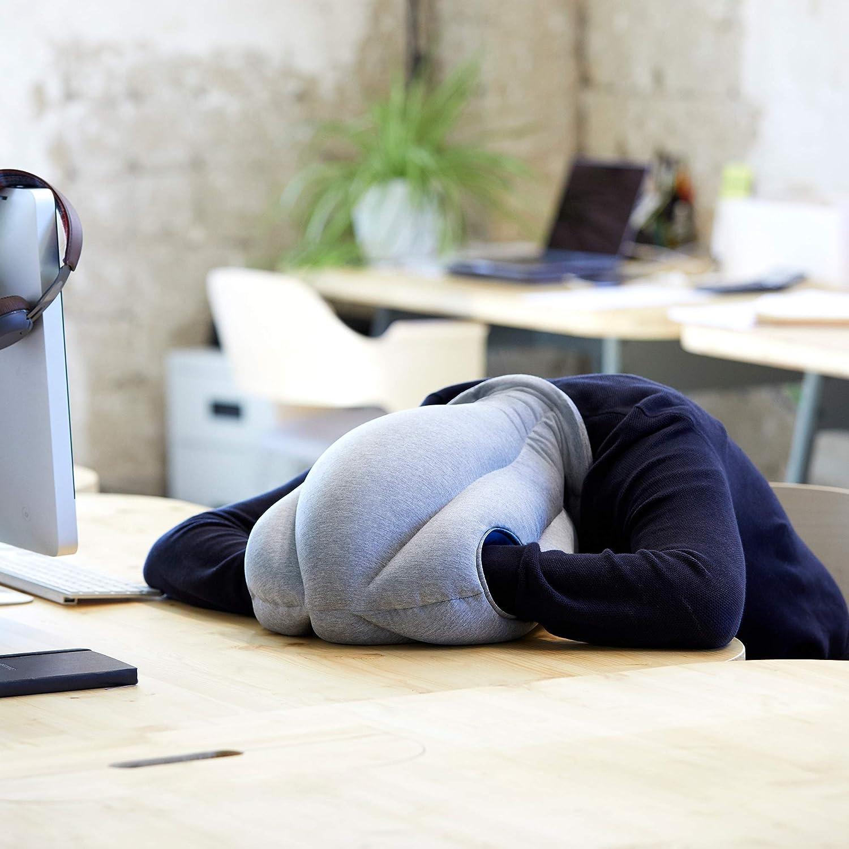 Accesorio de viaje para Hombre y Mujer OSTRICHPILLOW ORIGINAL Almohada de viaje para aviones coche Sleepy Blue oficina soporte de cuello para volar y dormir siestas Color Azul