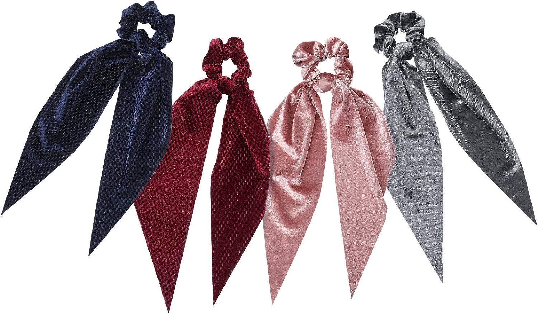 WELROG Bufandas scrunchies - 4PCS Peinados Bowknot Para Mujeres cabello Bobbles cola de caballo para niñas