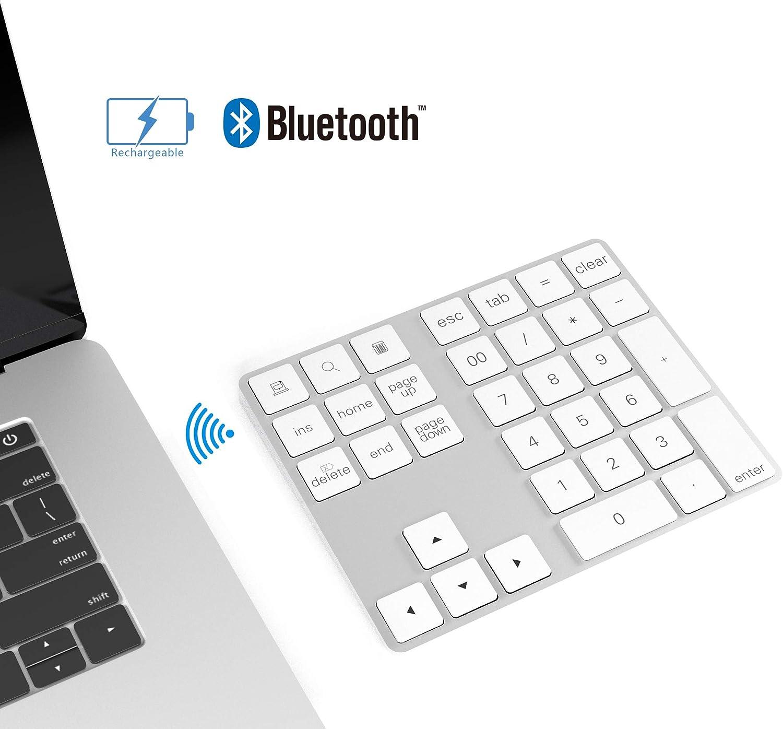 CATECK Teclado numérico Bluetooth con múltiples accesos directos Teclado numérico de 34 Teclas Teclado numérico Delgado inalámbrico portátil para iPad/Mac/Laptop/PC Compatible con el Sistema Windows