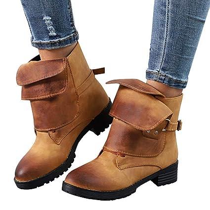 Fuxitoggo Zapatos de Roma para Mujeres, Moda para Mujer Gladiador Botines de Tobillo Cepillado Cuero