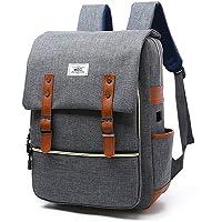 Japón Estilo coreano 38,1cm Laptop Mochila Mochila impermeable unisex College School Bookbag Bolsa de viaje mochila + USB Puerto de carga, Gris