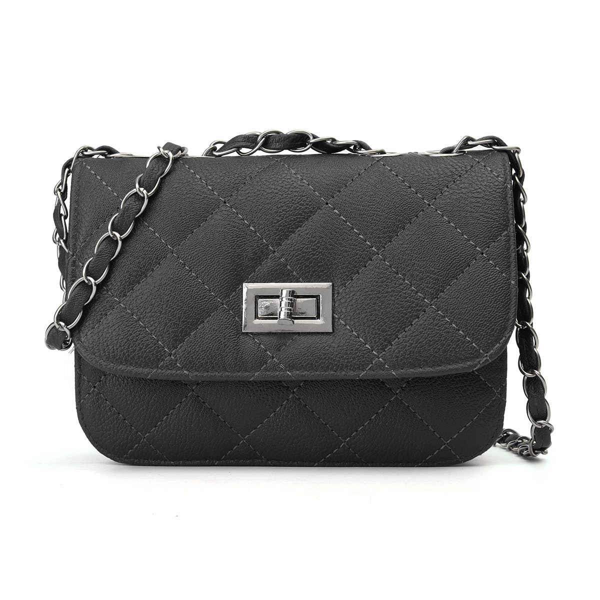Mini Crossbody Bag, OURBAG PU Leather Quilted Cross Body Shoulder Clutch Purse Evening Handbag with Chain Black