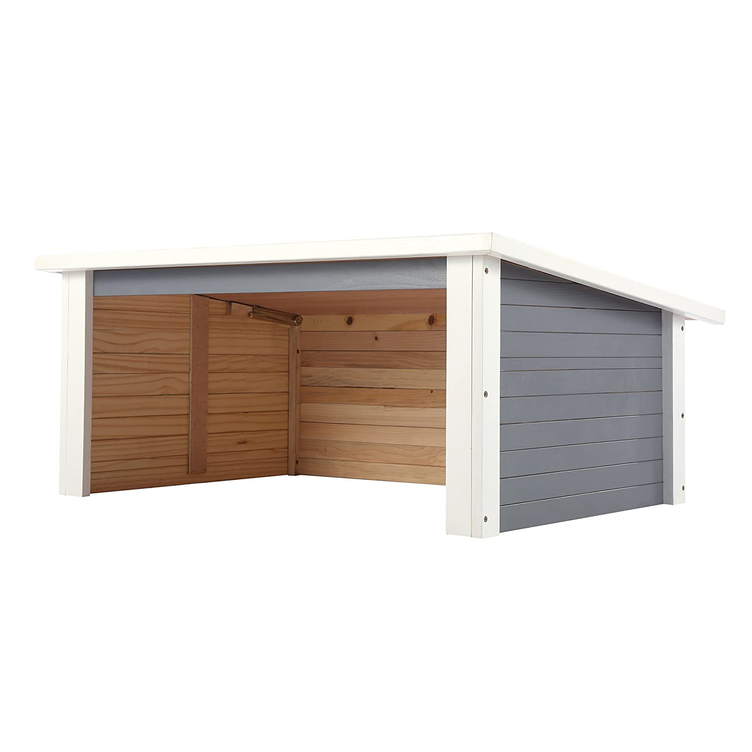 Grey Zelsius Wooden Garage for Lawnmower Robots, Garage made of Wood for Lawnmower Robots, Lawn Mower Robot Garage, Mowing Robot Garage, Carport for Lawn Robot, grey