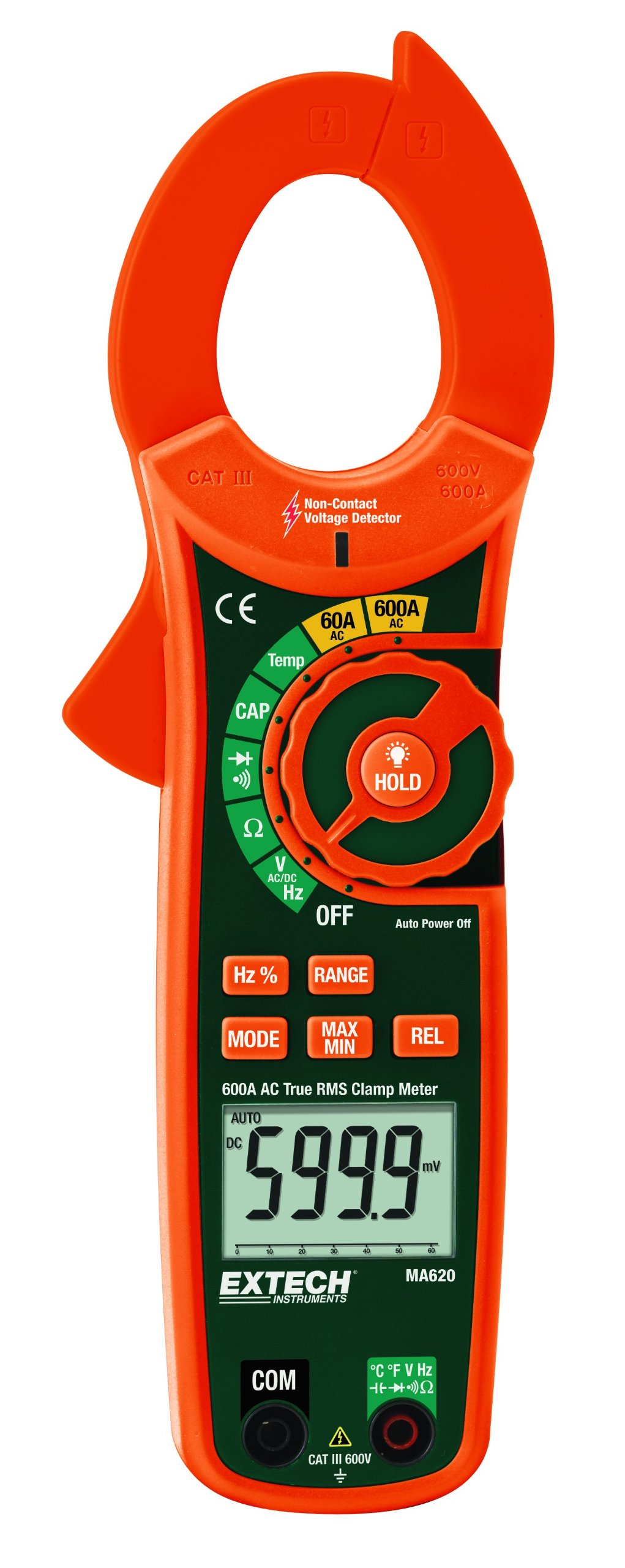 Extech MA620 True RMS 600A AC Clamp Meter with NCV Detector