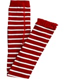 RuffleButts Infant/Toddler Girls Red & White Stripe Footless Tights w/Red Ruffles