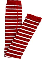 RuffleButts Infant / Toddler Girls Red & White Stripe Footless Tights w/ Red Ruffles