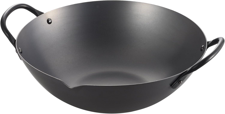 Amazon Com Yoshikawa Black Steel Canton Wok 13 Kitchen Dining
