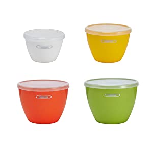 Farberware 5226749 Plastic Prep Bowls, Assorted, Set of 4, Green/Assorted