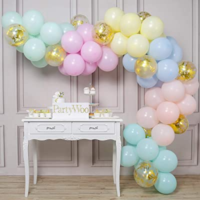 PartyWoo Pastel Balloons, 70 pcs 12 Inch Pastel Latex Balloons, Gold Confetti Balloons, Pastel Color Balloons for Pastel Party Decorations, Pastel Birthday Decorations, Pastel Rainbow Party Supplies: Toys & Games