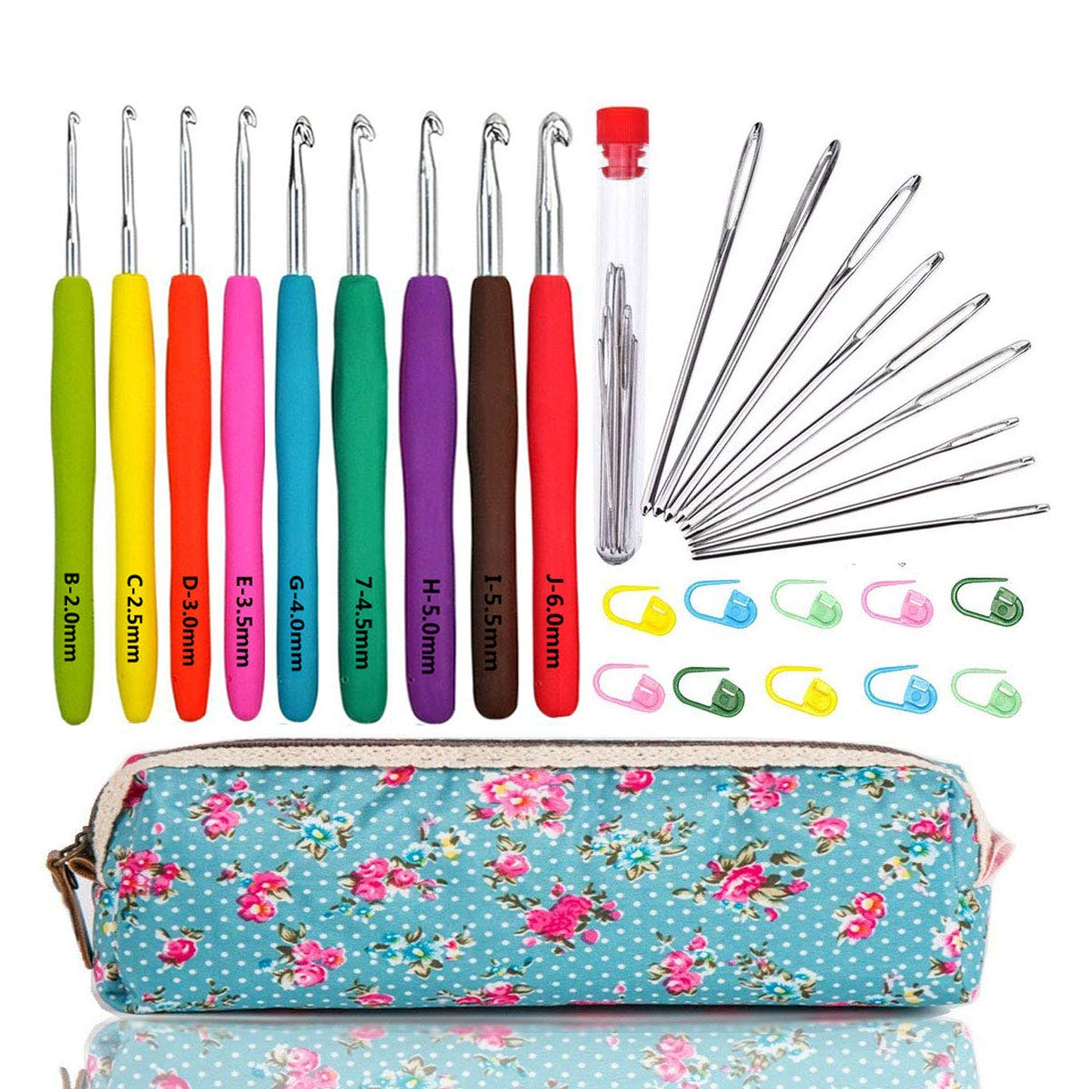 WooCrafts Large-Eye Blunt Needles Yarn Knitting Plus Crochet Hooks Set with Case,Ergonomic Handle Crochet Hooks Needles for Arthritic Hands.Best Gift!
