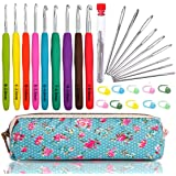 WooCrafts Large-Eye Blunt Needles Yarn Knitting Plus Crochet Hooks Set with Case,Ergonomic Handle Crochet Hooks Needles for A