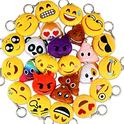 Dreampark Emoji Keychains Mini Key Chain Plush Pillows For Kids Party Favors Birthday