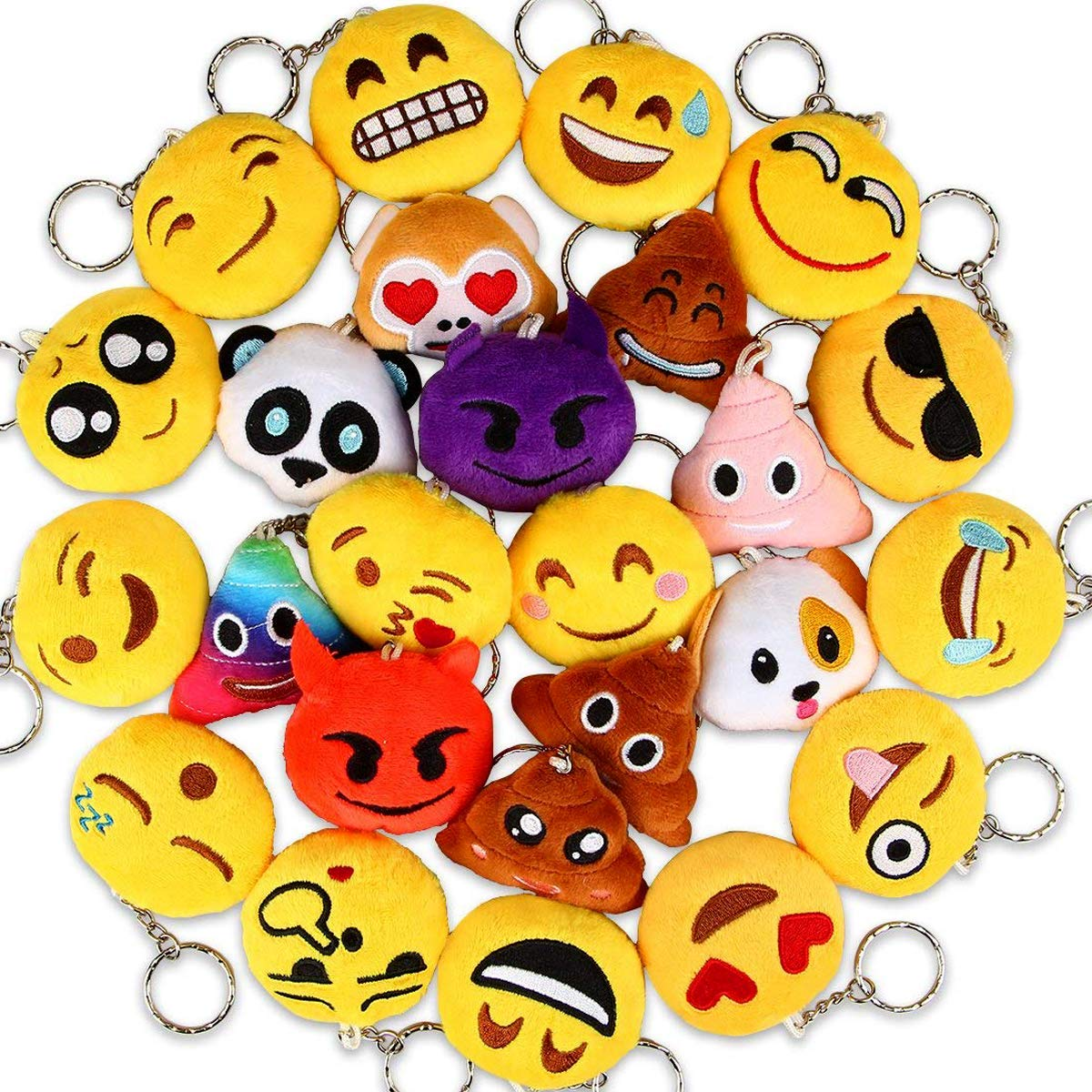 Dreampark Emoji Keychains Mini Poop Emoji Key Chain Plush Pillows for Kids Party Favors/Birthday Party Supplies - Christmas Party Decorations 2'' Set of 25
