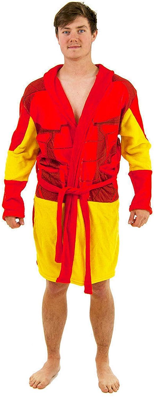 Mens Iron Man Fleece Dressing Gown Robe