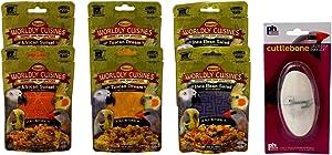 Higgins Worldly Cuisines Gourmet Food Appetizer for All Birds 3 Flavor 6 Pouch Plus Prevue Hendryx Cuttlebone Bundle, 2 Each: African Sunset, Tuscan Dream, Inca Bean Salad (2 Ounces)