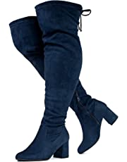 RF ROOM OF FASHION Women's Wide Calf Wide Width Block Heel Stretchy Over The Knee Boots - Plus Size Friendly
