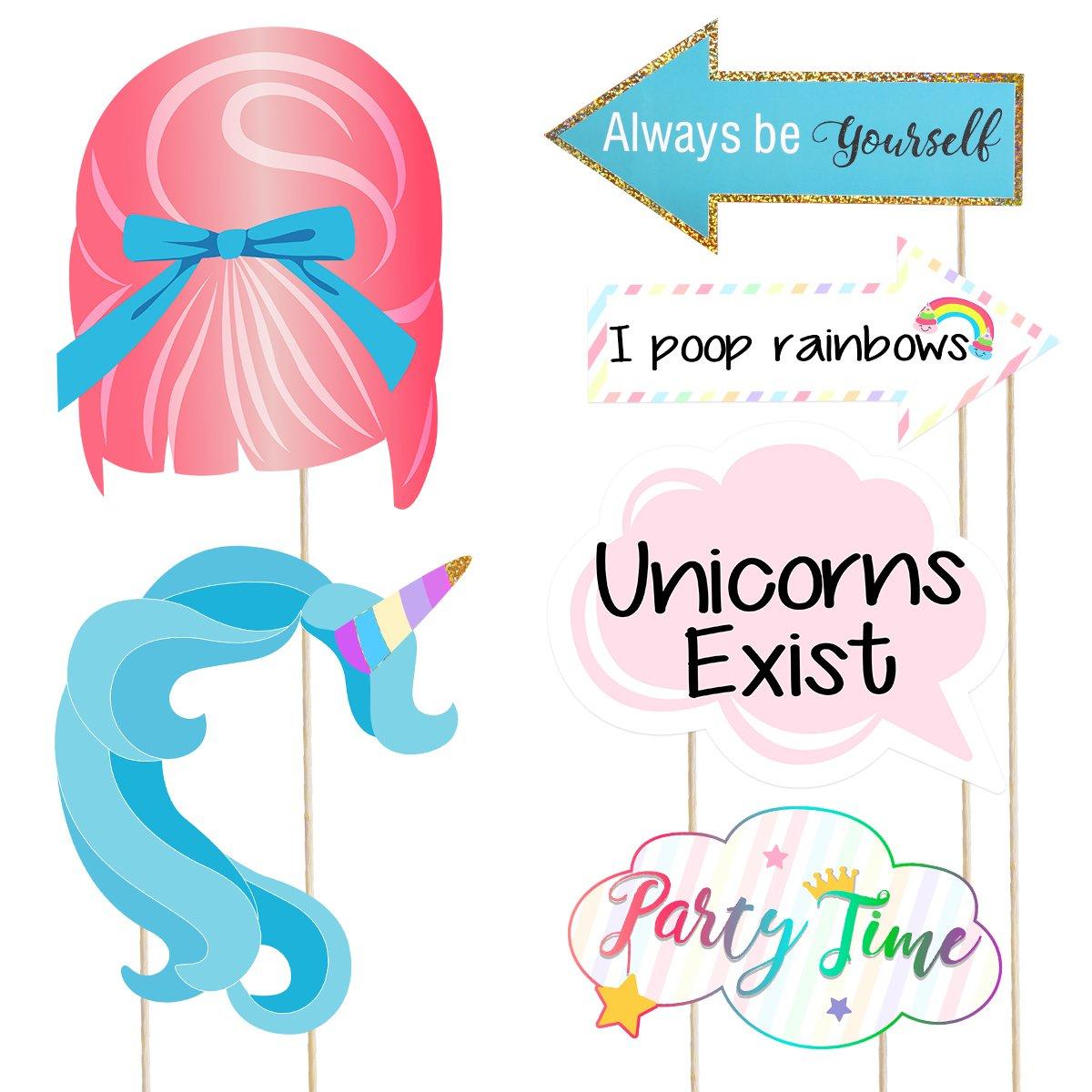 Amosfun 30 pz Unicorn Photo Booth Puntelli Divertente Glitter Arcobaleno Unicorno Pegasus Puntelli Foto per Unicorno Baby Shower Festa di Compleanno Decorazione Favori Forniture