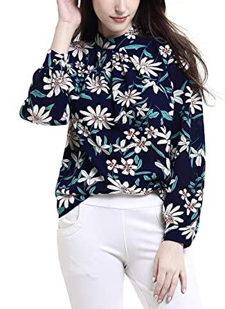 031e5340c37 Mixmax Women Casual Long Sleeve Floral Print Chiffon Blouse Shirts Tops ( Small