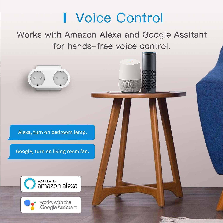 Biplite Connect/ée WiFi 10A Prises Programmables avec Commande Vocale Nest Hub et SmartThings Contr/ôle /à Distance et Fonction de Temps Google Home Double Prise Intelligente Compatible avec Alexa