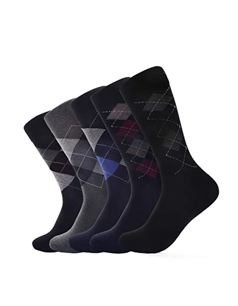 ee942613ce07 Dress Socks for Men- 5 Pack Mens Argyle at Amazon Men's Clothing store: