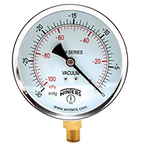 "Winters PEM Series Steel Dual Scale Economical All Purpose Pressure Gauge with Brass Internals, 30""Hg Vacuum/kpa, 4"" Dial Display, +/-3-2-3% Accuracy, 1/4"" NPT Bottom Mount"