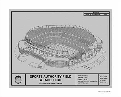 Amazon denver broncos sports authority field at mile high denver broncos sports authority field at mile high blueprint art gift malvernweather Images